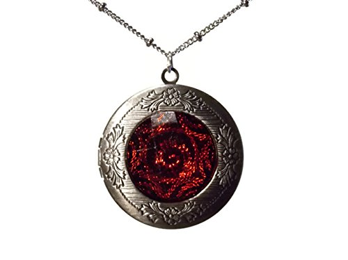 Stunning Photo Locket Necklace - Features Blood Red Metallic Swirl Dome on Front - Opens to Reveal Two Pictures Slots - Insert Your Own Family Photos to Create a Unique (Photo Locket Necklace)