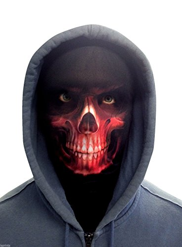 FACE SKINZ - RED SKULL FACE Lycra Face Mask (Red Skull Mask)