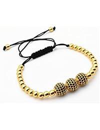 Pulseras De Hombre 2018 Gold Plated Beads & 10mm Micro Pave Black CZ Beads Bracelet