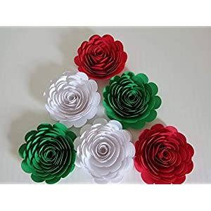 "Red, White & Green Mexican Color Roses, 3"" Paper Flowers, Set of 6 Wedding Flowers, Bridal Shower Decor, Italy/Italian Theme Tea Party Decorations, Always In Blossom 44"