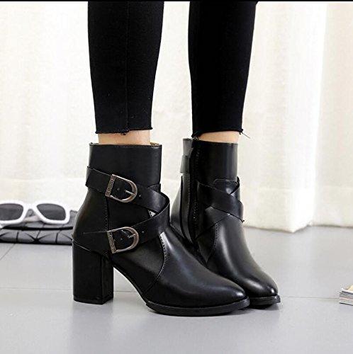 KHSKX-Tosco Y Fine-Point Short-Boots High-Heel Zapatos Femeninos Botas Chelsea Clip De La Correa De Ventilador De Terciopelo Plus 36 38