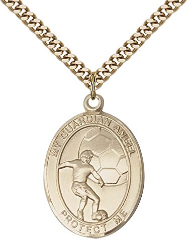 14kt Gold Filled Guardian Angel/Soccer Pendant with 24
