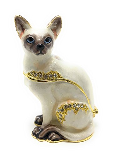 Kubla Crafts Enameled Chocolate Point Siamese Cat Trinket Box by, Accented with Austrian Crystals