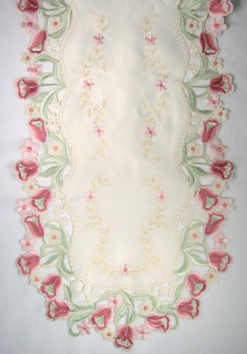 (BANBERRY DESIGNS Spring Time Easter Tulip Flowers On An Embroidered Table Runner, Approx. Size 14