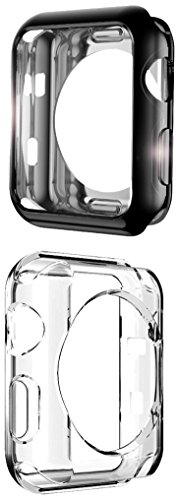 Apple Watch Case, UBOLE Scratch-resistant Flexible Lightweight Plated TPU Full Body Protective Case for iWatch Series 3, Series 2, series 1 (CLEAR+BLACK 38mm) by UBOLE