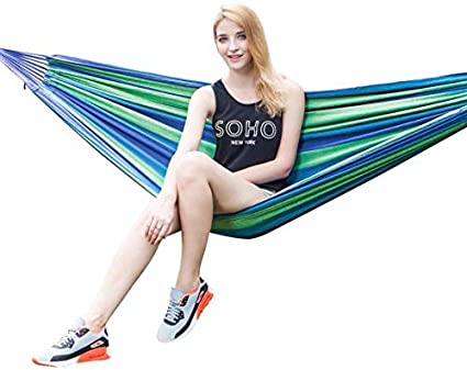 FAINLIST Portable Durable Comfortable Woven Nylon Rainbow Swing Hammock Outdoor Camping Supplies