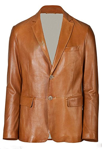World of Leather Designer Blazer Style Sheep/Lamb Skin Leather Sport Jacket Cognac (Lambskin Blazer Coat)
