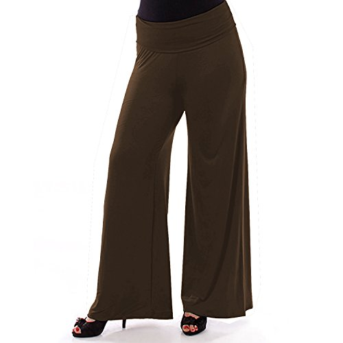 Popular Women's Plus Size Palazzo Stretchy Pants - Brown ()