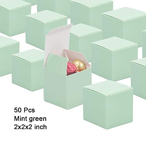 (Candy Boxes Mint Green Small Gift Boxes 2x2x2 inch,50pcs,Square Paper Treat Boxes Party Favor Boxes for Wedding,Bridal Shower,Birthday,Baby Shower,Anniversary,Party Supplies)