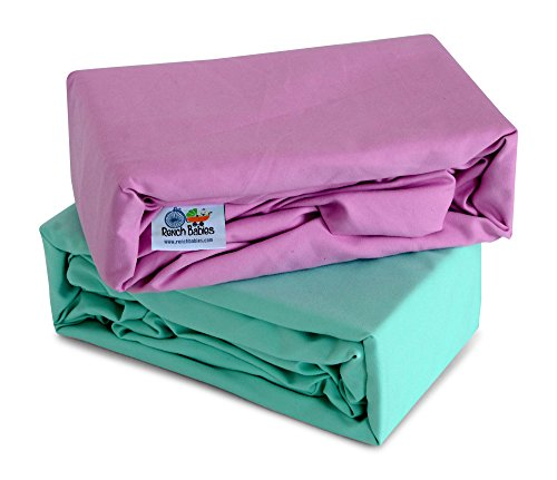 Bedding Ice Crib (Rench Babies Microfiber Fitted Crib Sheet, Ice Green & Pastel Lavender, 2 Pack)