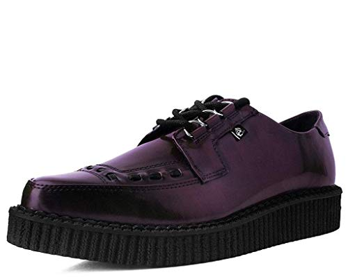 T.U.K. Shoes T2278 Unisex-Adult Creepers, Burgundy Rub Off Pointed Anarchic Creeper - US: Men 10 / Women 12 / Red/Synthetic