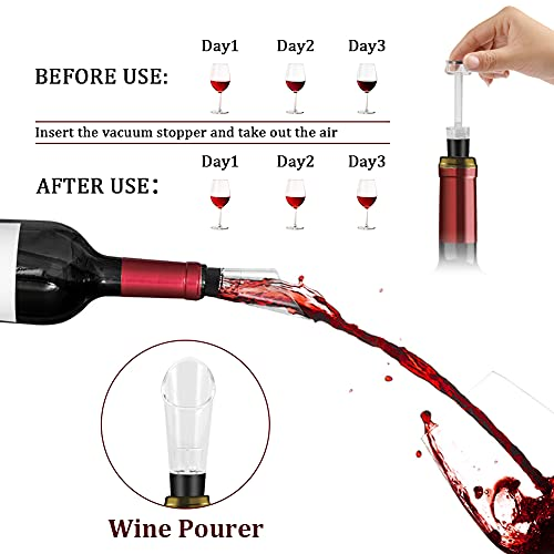 Delicacy Electric Wine Opener Set,Rechargeable Wine Opener Set with Charging Base,One-click Button Wine Bottle Corkscrew Opener with Wine Pourer, Vacuum Stopper and Foil Cutter (Batteries Included)