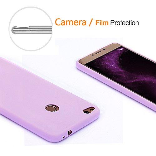 Funda Huawei P8 Lite 2017, Mosoris Mate Superficie (Anti-huella dactilar) Carcasa, Suave Transparente TPU Silicona Parachoques Tapa Ultra Delgado Flexibilidad Protectora Caso Anti-Aranazos Espalda Mov purple
