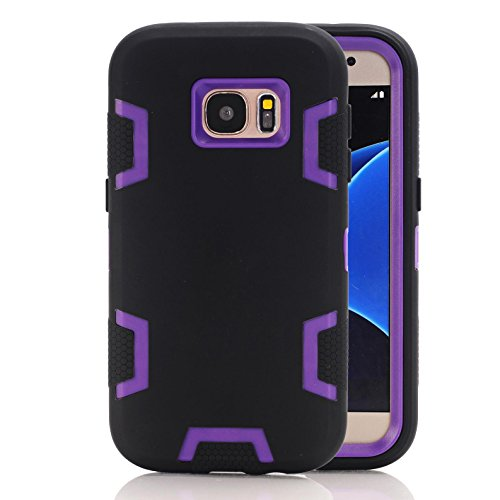 Galaxy S7 Case, Firefish [Slim Fit] Soft Silicone and Hard PC Hybrid Cover [Shock Proof] Anti Scratch Protective Case for Samsung Galaxy S7 - Black Purple