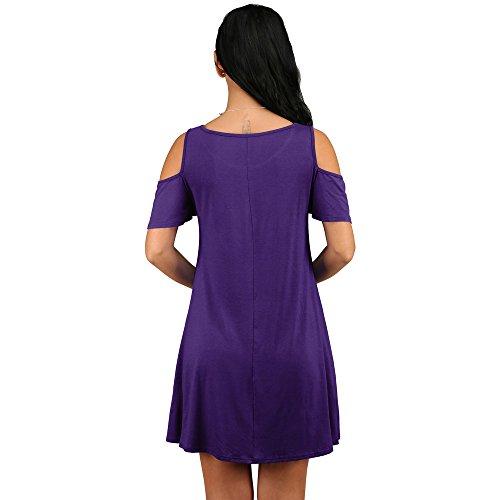 Casual Loose Off Cotton Sundress Aribelly Dress Purple Mini Summer Solid Shoulder YOPWOn6x