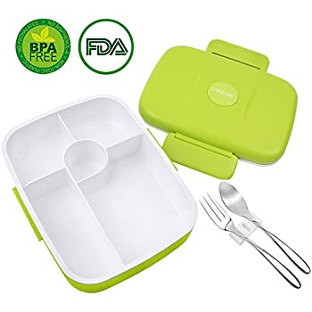 Bento Lunch Box For Kids Adults W/5 Compartment, Leakproof, Microwave Dishwasher Safe, Healthy BPA Free (Fork & Spoon INCLUDED)
