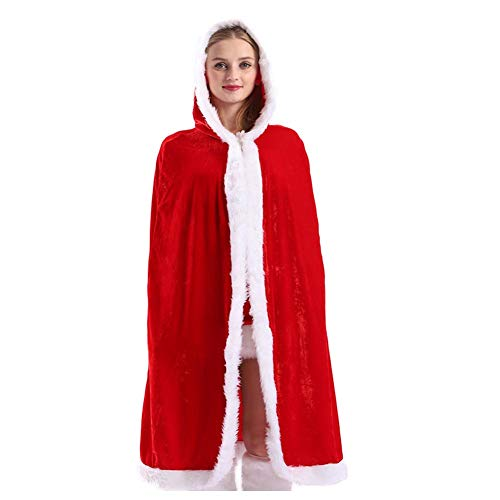 WeeH Christmas Cape Red Xmas Costume Santa Hooded Cloak Winter Holiday Outwear Medium ()