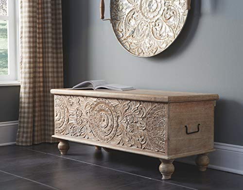 Signature Design by Ashley - Fossil Ridge Storage Bench - Medallion Carvings - Antique White Finish