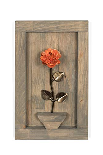 Personalized Gift Hand-Forged Copper Metal Rose with Wood Hanging - 7th Anniversary Gift (Sculpture Iron Forged)