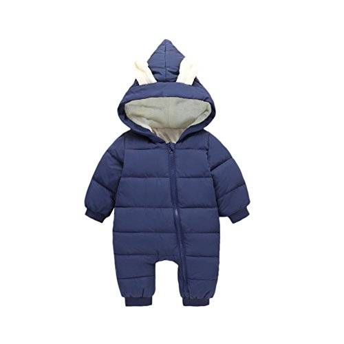 Down Snowsuit (MiyaSudy Baby Boy Snowsuit, Newborn Baby Girls Down Jacket Winter Hooded Bodysuit Clothes Outfits)