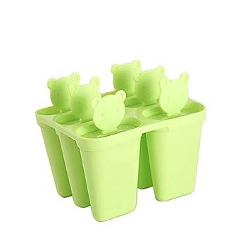 Ouken Paletas moldes paletas reutilizables hielo congelado paleta molde hielo pop Cream Maker paletas bandeja titulares verde: Amazon.es: Hogar