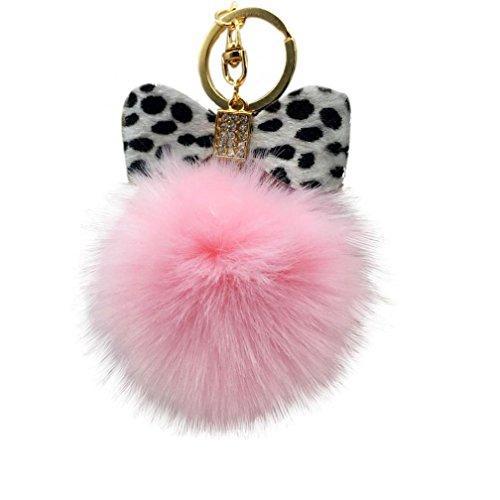 Bowknot Rabbit (Iuhan Fashion Fluffy Faux Rabbit Fur Ball Bowknot Charm Car Keychain Handbag Key Ring (N))