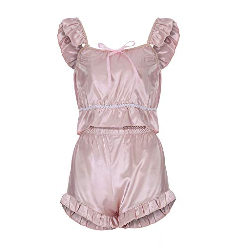 Womens Babydoll Sexy Suspender Lace Bow Passion Lingerie G-String Plus Size Nightwear 2PC Set (L2, Pink)