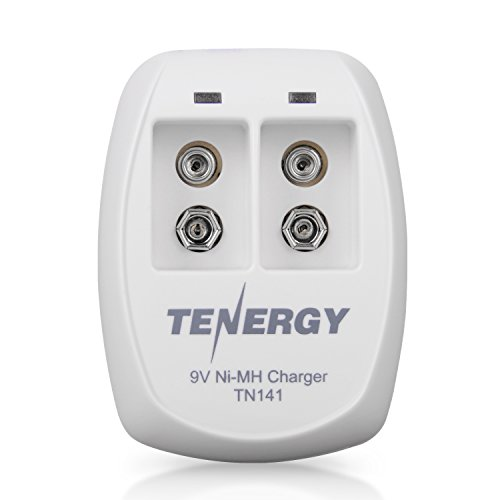 Tenergy TN141 Smart Charger for NiMH 9V Rechargeable Batteries, 9V Cells Battery Charger, 9 Volt NiMH Batteries Charger, 2 Slot 9V Fast Charger for Smoke Detector