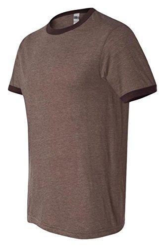 Canvas Men's Robertson Heather Ringer Short Sleeve T-Shirt - HEATHER BROWN/BROWN - (Brown Mens Ringer)