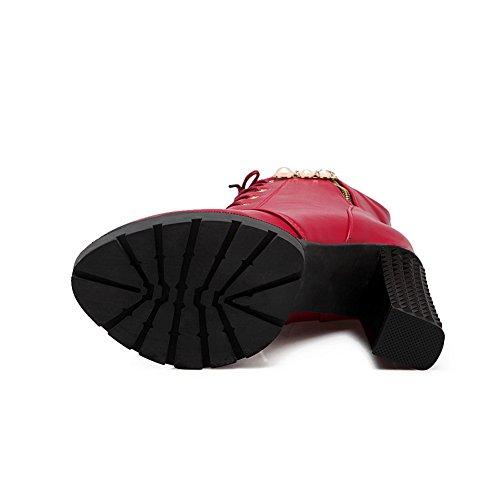 Plate Bandage Filles Imités forme En De N Rouge De Talons Chunky Perles amp; Bottes Cuir A wvXETT
