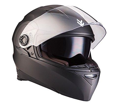 ARROW AF-77 Matt Black · Urban Integral-Helm Roller-Helm Helmet Cruiser Sport Motorrad-Helm Sturz-Helm Scooter-Helm ,ECE zertifiziert ,inkl. Sonnenvisier ,inkl. Stofftragetasche ,Schwarz · L (59-60cm)