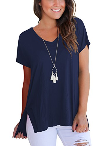Aokosor Short Sleeve Tops For Women Casual Loose T Shirt High Low Cotton Tees Navy Blue L