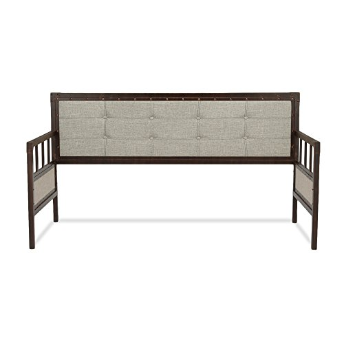 Gotham Metal Daybed with Latte Finished Button-Tufted Upholstery and Brass Studs, Brushed Copper, (Bedroom Brass Daybed)