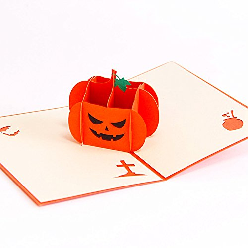 Hello Laura - 3D Happy Halloween Pop up Greeting Card for Halloween, Holiday and Other Occasion   Pumpkin (Halloween Wedding Greeting Cards)
