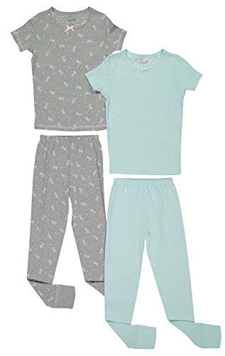 Girls Snug Fit Pajama Short Sleeve Shirt Top & Bottom Pants Sleepwear 4PC Set (8, Soothing Sea & Grey) (Sea Grey Satin)