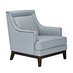 Farmhouse Accent Chairs CHITA Fabric Accent Armchair, Living Room Club Chair with Solid Wood Base, Wisp Blue farmhouse accent chairs
