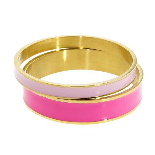 (NYC Sterling Women Gold Tone Stainless Steel Enamel Bangle Set (Light Pink &)