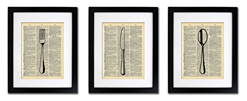 Fork Wall - Fork Knife Spoon - Kitchen Art 3 Prints - Vintage Dictionary Print 8x10 inch Home Vintage Art Abstract Prints Wall Art for Home Decor Wall Decorations For Living Room Bedroom Office Ready-to-Frame