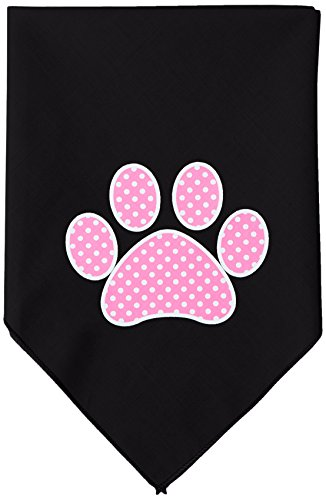 Mirage Pet Products Pink Swiss Dot Paw Screen Print Bandana for Pets, Small, Black (Screen Swiss)