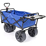 Mac Sports Heavy Duty Collapsible Folding All Terrain Utility Wagon Beach Cart (Blue/Black with Table)