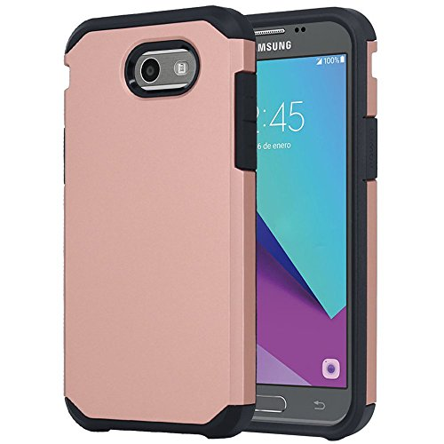 Galaxy J7 V Case, Galaxy J7 Prime Case, Galaxy J7 Perx Case, Galaxy J7 Sky Pro Case, OEAGO Samsung Galaxy Halo 2017 Case Shockproof Drop Protection Impact Rugged Armor Case Cover - Rose Gold