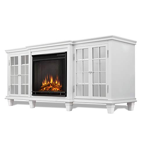 (Real Flame Marlowe Electric Entertainment Fireplace in White Finish)
