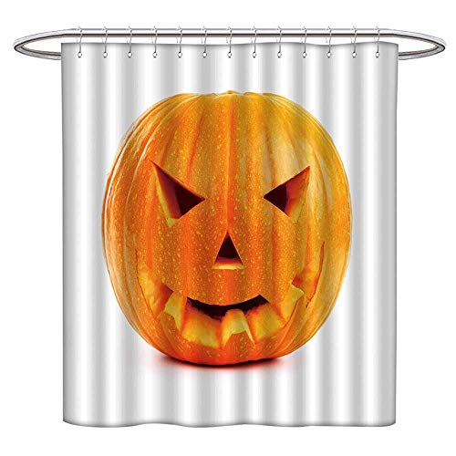 Jiahonghome Mildew Resistant Fabric Shower Curtains Halloween Pumpkin Isolated on White Repellant Non Toxic Decor W 63 x L 72 INCH ()