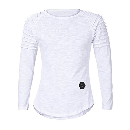 Realdo Long Sleeve T-Shirt for Men, Fashion Casual Slim Solid Crewneck Pleated Pullover Shirt Top(White,Large) -
