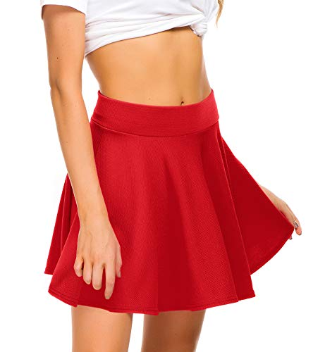 EXCHIC Women Stretch Waist Flared Mini Skater Skirt Casual Pleated Skirts (XS, Red) -