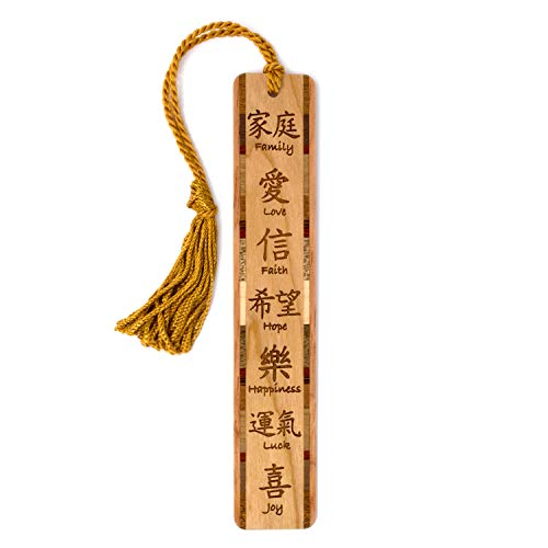 - Chinese Family Love Faith Hope Happiness Luck Joy Artwork Handmade Wooden Bookmark with Tassel