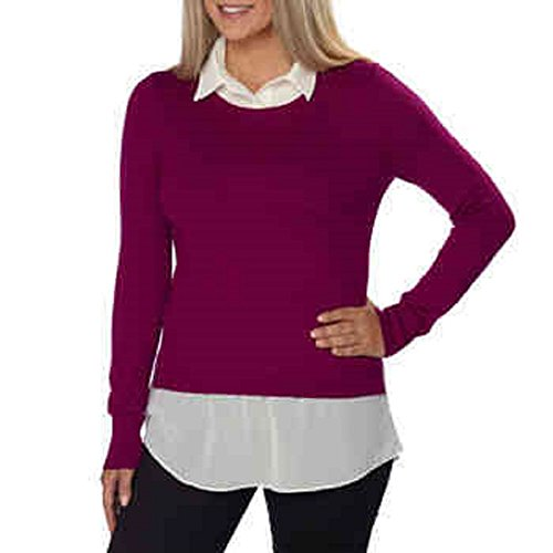 DKNYC Ladies' Layered Sweater-Pink, Medium (Sleeve Dknyc Long)