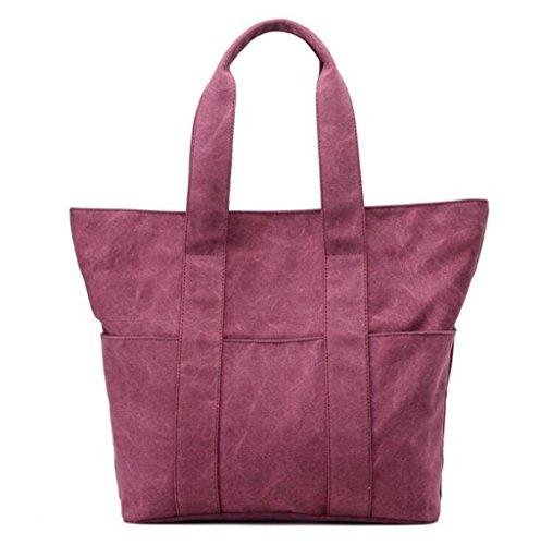 Sucastle sacchetti di svago sacchetto di modo del sacchetto di spalla di tela retro borsa bag Sucastle Colore:porpora Dimensione:40x38x13cm