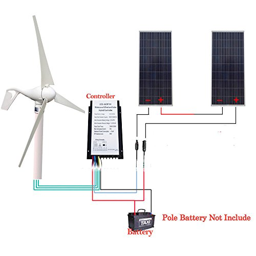 400W Wind Turbine Generator+ 20A Controller +2pcs 150W Solar Panel Home off Grid by ECO LLC