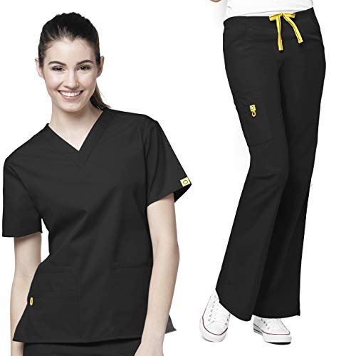WonderWink Origins Women's 6016 Bravo Top & Romeo Pant 5026 Medical Uniform Scrub Set, Mix & Match Sizes (Black - Medium/X-Large)